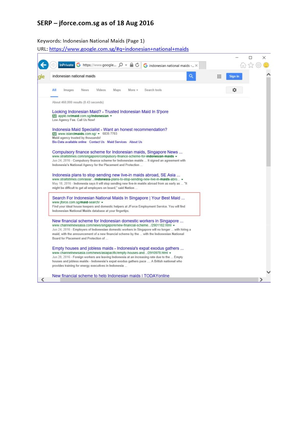 Google Ranking on Page 1